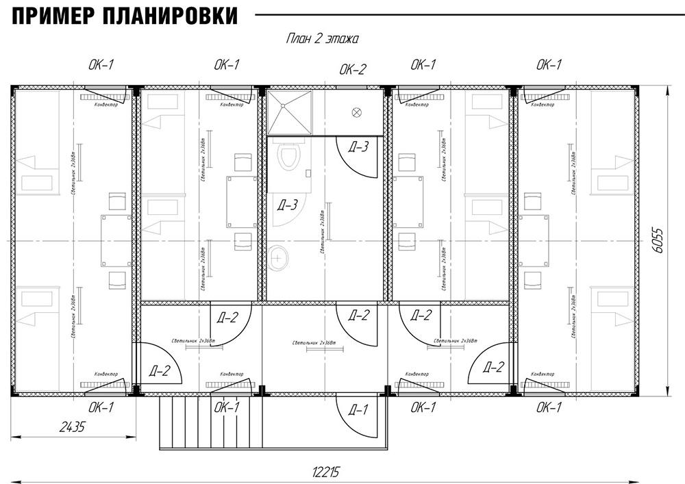 Пример конструкции модульной гостиницы