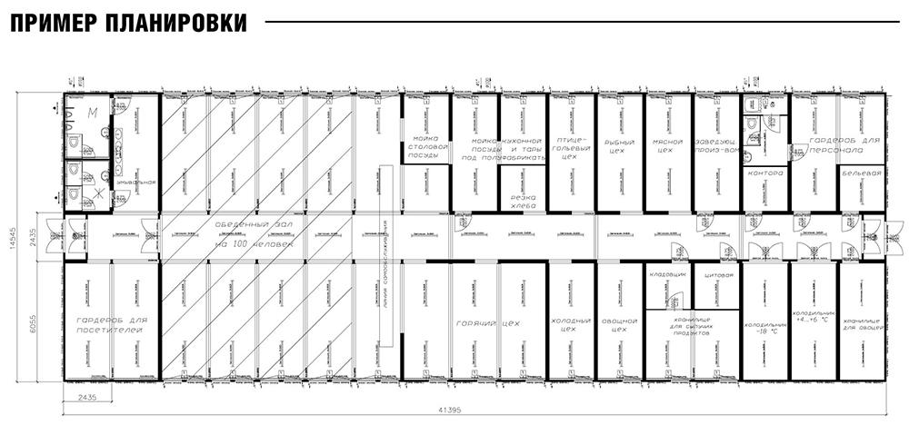Пример конструкции модульной столовой