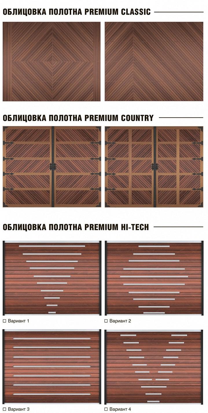 Дизайн гаражных секционных ворот Premium
