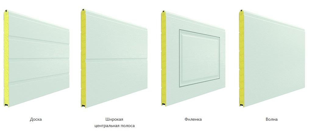 Виды панелей секционных ворот